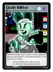 Neopets Trading Card Game Rare Single Card #52 Ghost Korbat