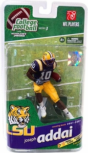 McFarlane Toys NCAA COLLEGE Football Sports Picks Series 3 Action Figure Joseph Addai (LSU Tigers) Purple Jersey Gold Collector Level Only 500 Made!