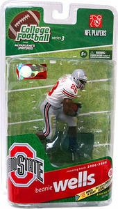 McFarlane Toys NCAA COLLEGE Football Sports Picks Series 3 Action Figure Beanie Wells (Ohio State Buckeyes) White Jersey Silver Collector Level Only 625 Made!