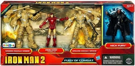 Iron Man 2 Movie Exclusive Action Figure 4-Pack Fury of Combat [Ground Assault Drone, Iron Man Mark VI, Ground Assault Drone & Nick Fury]