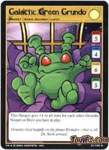 Neopets Trading Card Game Return of Dr. Sloth Rare Single #21 Galactic Green Grundo