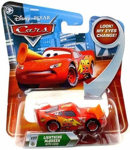 Disney / Pixar CARS Movie 1:55 Die Cast Car with Lenticular Eyes Series 2 Lightning McQueen with Cone