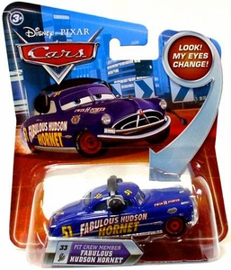 Disney / Pixar CARS Movie 1:55 Die Cast Car with Lenticular Eyes Series 2 Pit Crew Member Fabulous Hudson Hornet