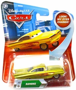 Disney / Pixar CARS Movie 1:55 Die Cast Car with Lenticular Eyes Series 2 Gold Ramone