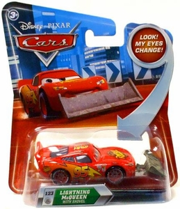 Disney / Pixar CARS Movie 1:55 Die Cast Car with Lenticular Eyes Series 2 Lightning McQueen with Shovel