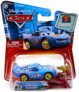 Disney / Pixar CARS Movie 1:55 Die Cast Car Series 2 Piston Cup Bling Bling Lightning McQueen (with Trophy)  Chase Piece!