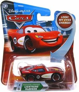 Disney / Pixar CARS Movie 1:55 Die Cast Car with Lenticular Eyes Series 2 Radiator Springs Lightning McQueen