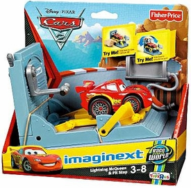 Disney / Pixar CARS 2 Movie Imaginext Exclusive Lightning McQueen & Pit Stop