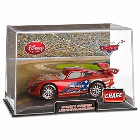 Disney / Pixar CARS 2 Movie Exclusive 1:43 Die Cast Car In Plastic Case Stars & Stripes Lightning McQueen Chase Edition!