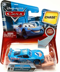 Disney / Pixar CARS Movie 1:55 Die Cast Car with Lenticular Eyes Series 2 Dinoco Lightning Mcqueen with Celebrity Signature Chase Piece!