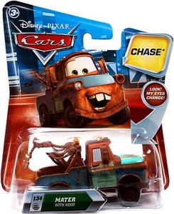 Disney / Pixar CARS Movie 1:55 Die Cast Car with Lenticular Eyes Series 2 Mater with Hood Chase Piece!