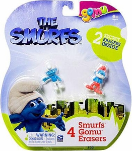 The Smurfs Movie Gomu Eraser 4-Pack [2 Secret Erasers]