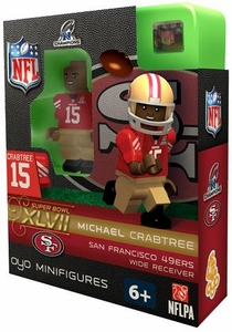 OYO Football NFL Building Brick Minifigure Michael Crabtree [San Francisco 49ers] NFC Champions