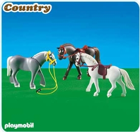 Playmobil Pony Ranch Set #6257 3 Horses II