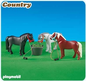 Playmobil Pony Ranch Set #6256 3 Ponies with Feeding Bucket