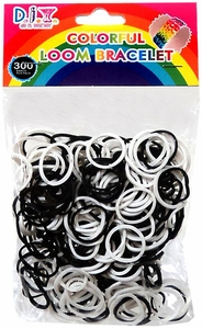 D.I.Y. Do it Yourself Bracelet 300 Black & White Rubber Bands with 'S' Clips