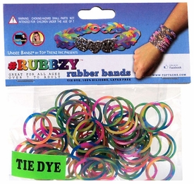 Undee Bandz Rubbzy 100 Rainbow Tie-Dye Rubber Bands with Clips
