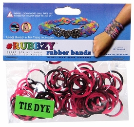 Undee Bandz Rubbzy 100 Pink & Black Tie-Dye Rubber Bands with Clips