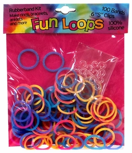Fun Loops 100 Tie Dye Rubber Bands with 'S' Clips [A]