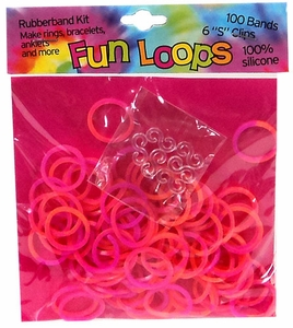 Fun Loops 100 Pink & Orange Tie Dye Rubber Bands with 'S' Clips