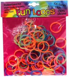 Fun Loops 100 Rainbow Rubber Bands with 'S' Clips