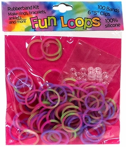 Fun Loops 100 Green, Pink & Purple Tie Dye Rubber Bands with 'S' Clips