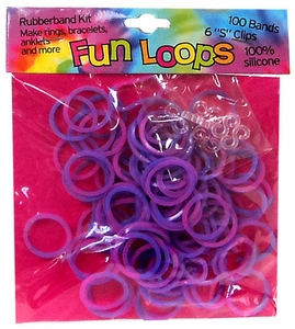 Fun Loops 100 Pink & Purple Tie Dye Rubber Bands with 'S' Clips