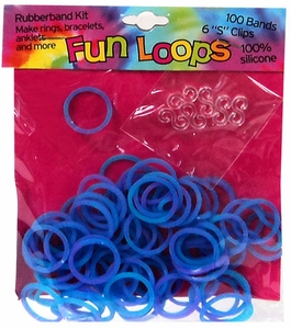 Fun Loops 100 Purple & Blue Tie Dye Rubber Bands with 'S' Clips