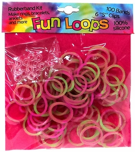 Fun Loops 100 Pink & Green Tie Dye Rubber Bands with 'S' Clips