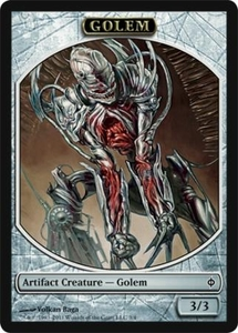 Magic the Gathering New Phyrexia Single Card Golem Token