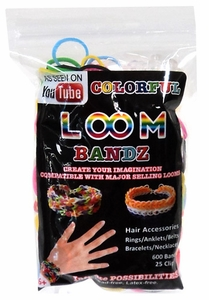 Colorful Loom Bandz 600 Rainbow Rubber Bands with 'S' Clips