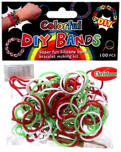 D.I.Y. Do it Yourself Bracelet Bands 100 Christmas Red, Green & White Rubber Bands with Hook Tool & Buckles