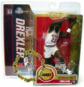 McFarlane Toys NBA Sports Picks Legends Series 2 Action Figure Clyde Drexler (Houston Rockets) White Jersey Houston Variant