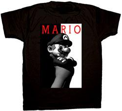 Nintendo Adult T-Shirt Black & White Mario