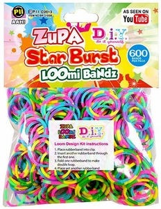 D.I.Y. Do it Yourself Bracelet Zupa Loomi 600 Rainbow Starburst Rubber Bands with 'S' Clips