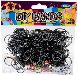 D.I.Y. Do it Yourself Bracelet Bands 300 Two-Tone Black & White Rubber Bands with Hook Tool & Buckles