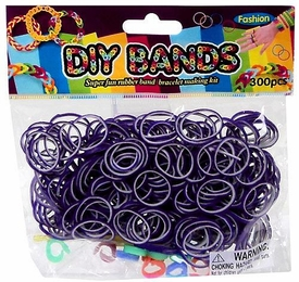 D.I.Y. Do it Yourself Bracelet Bands 300 Two-Tone Purple & White Rubber Bands with Hook Tool & Buckles