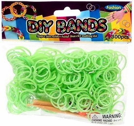 D.I.Y. Do it Yourself Bracelet Bands 300 Two-Tone Green & White Rubber Bands with Hook Tool & Buckles