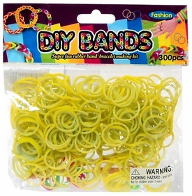 D.I.Y. Do it Yourself Bracelet Bands 300 Two-Tone Yellow & White Rubber Bands with Hook Tool & Buckles