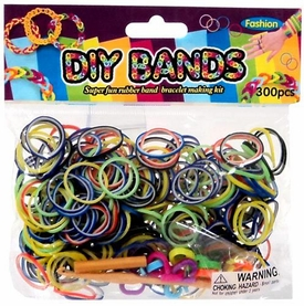 D.I.Y. Do it Yourself Bracelet Bands 300 Two-Tone Rainbow Rubber Bands with Hook Tool & Buckles
