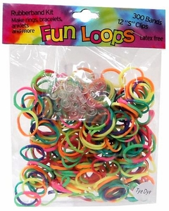 Fun Loops 300 Rainbow Tie Dye Rubber Bands with 'S' Clips