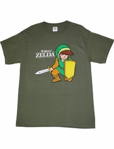 Nintendo Legend of Zelda Youth T-Shirt Link Kneeling with Sword [Dark Olive Green]