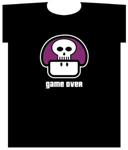 Nintendo Super Mario Adult T-Shirt Game Over Poison Mushroom