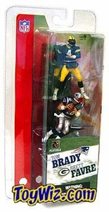 McFarlane Toys NFL 3 Inch Sports Picks Series 1 Mini Figure 2-Pack Brett Favre (Green Bay Packers) & Tom Brady (New England Patriots)