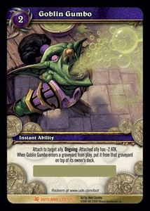 World of Warcraft Card Game Fires of Outland Single Card Legendary Loot #1 Goblin Gumbo