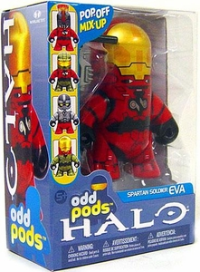 Halo 3 McFarlane Toys Odd Pods Series 1 Stylized Figure Red Spartan EVA [Assault Rifle] COLLECTOR'S CHOICE!