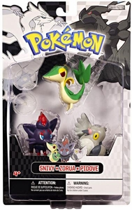 Pokemon Black & White Series 1 Basic Figure 3-Pack Snivy, Zorua & Pidove