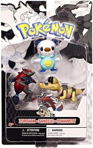 Pokemon Black & White Series 1 Basic Figure 3-Pack Zoroark, Sandile & Oshawott