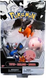Pokemon Black & White Series 2 Basic Figure 3-Pack Drilbur, Tepig & Munna