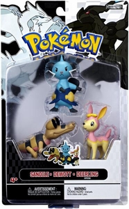 Pokemon Black & White Series 3 Basic Figure 3-Pack Dewott, Pink Deerling {Spring Form} & Sandile